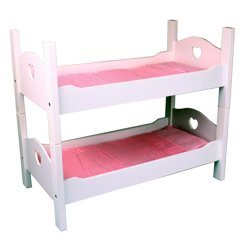 baby puppen etagenbett holz wei lackiert puppenbett stapelbett mit zubeh r ebay. Black Bedroom Furniture Sets. Home Design Ideas