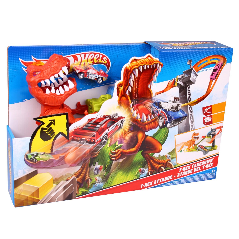 hot wheels x2700 t rex takedown dinosaurier spielset mit. Black Bedroom Furniture Sets. Home Design Ideas